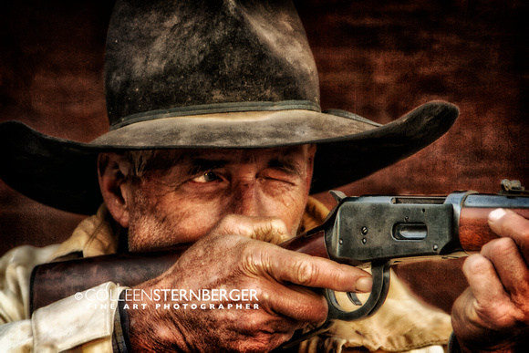 """stop or I'll shoot"", Irv, Wyoming, cowboys, shotgun, ""western art"", ""limited edition"", ""giclee print"", ""fine art photography"""