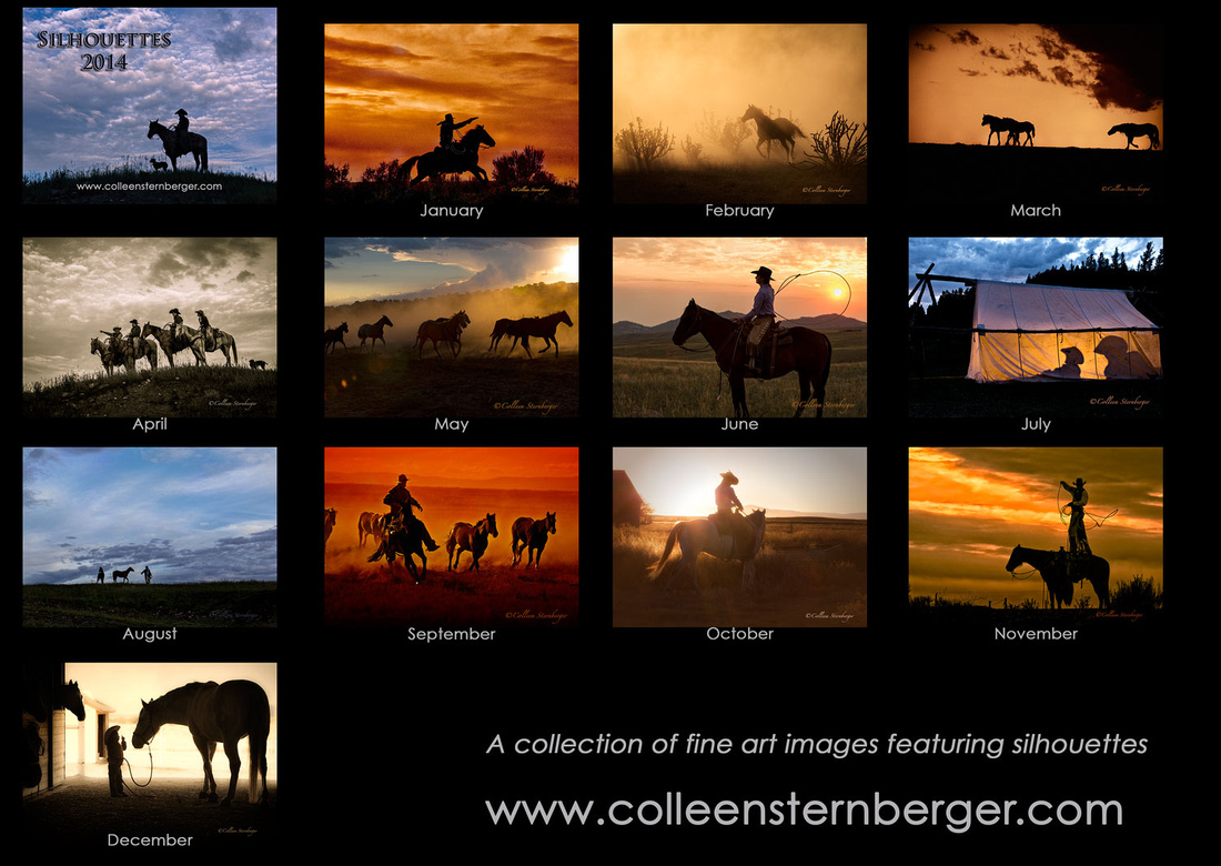 silhouettes, horses, cowboys, cowgirls, sunsets, horses, dust, fine art photography, western photography, calendars