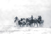 "Horses, Wyoming, cowboys, cowgirls, ""fine art photography"", snow, ""western photography"", white. snowbound, winter"